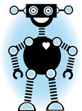 Het Blauw van het Overzicht van het Beeldverhaal van het Silhouet van de robot Stock Foto's