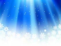 Het blauw van Kerstmis met sneeuwvlokken. + EPS8 royalty-vrije illustratie