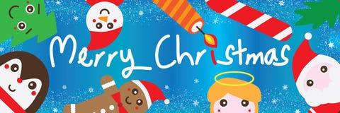 Het blauw van het Kerstmiselement schittert kaderbanner royalty-vrije illustratie