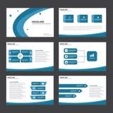 Het blauwe Abstracte de elementen vlakke ontwerp van Infographic van het presentatiemalplaatje plaatste voor het pamflet van de b Royalty-vrije Stock Foto's