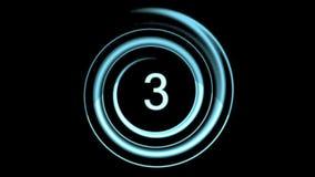 Het blauwe Aftelprocedure tellen van nummer 5 tot 0 stock videobeelden