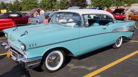 Het Blauwe & Witte 1957 Bel Air Chevy van het poeder Stock Fotografie