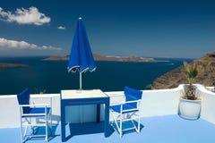 Het blauwe balkon van de zomer Stock Fotografie