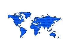(Het Blauwe) Binaire getal van de Kaart van de wereld Royalty-vrije Stock Afbeelding