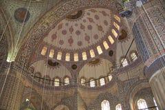 Het blauwe Binnenland van de Moskee Stock Fotografie
