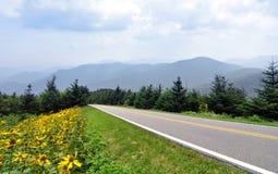 Het blauwe Brede rijweg met mooi aangelegd landschap van de Rand en Rokerige Bergen Royalty-vrije Stock Afbeelding