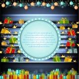 Het blauwe cirkelkader op zilveren Kerstmisachtergrond met gouden sterren en stelt voor Royalty-vrije Stock Foto's
