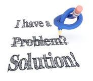 Het blauwe citaat van de potloodknoop voor concept van het school of het bedrijfsprobleem Stock Foto