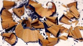 Het blauwe close-up van kleurpotloodspaanders Royalty-vrije Stock Afbeeldingen