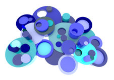 Het blauwe 3D element van cirkelelementen in abstracte stijl met BLANK spa Stock Foto's