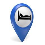 Het blauwe 3D pictogram van de kaartwijzer met een bedsymbool voor hotels stock illustratie