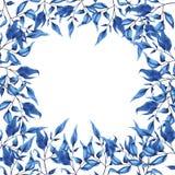Het blauwe decoratieve ontwerp van de takkenkaart Hand getrokken waterverf stock illustratie
