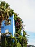 Het blauwe die hotel van Giardininaxos in groen, Sicilië wordt behandeld Stock Afbeeldingen