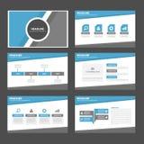 Het blauwe en grijze multifunctionele infographic van het de vliegerpamflet van de presentatiebrochure van het de websitemalplaat Royalty-vrije Stock Fotografie