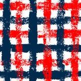 Het blauwe en rode geruite naadloze patroon van de grungegingang, vector Royalty-vrije Stock Foto