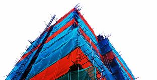 Het blauwe en Rode Silhouet van de Bouwconstructieplaats Stock Fotografie