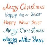 Het blauwe en rode van letters voorzien van een gelukkig nieuw jaar en vrolijke Kerstmis Stock Afbeelding