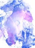 Het blauwe en roze gouache schilderen stock illustratie