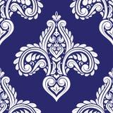 Het blauwe en witte naadloze patroon van Fleur DE lis Uitstekende koninklijk, heraldisch lilly Ornament stock illustratie