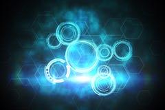 Het blauwe en zwarte ontwerp van de technologiewijzerplaat Stock Afbeelding