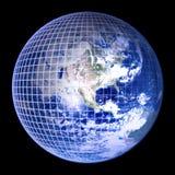 Het Blauwe Frame van de Bol van de aarde Stock Afbeeldingen