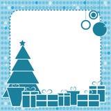 Het blauwe frame van Kerstmis Stock Fotografie