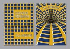Het blauwe gele malplaatje van het de dekkingsontwerp van het kleurenschemaboek in a4 met de optische elementen van de motieillus royalty-vrije illustratie