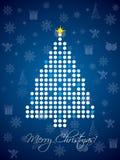 Het blauwe gestippelde ontwerp van de Kerstmiskaart Royalty-vrije Stock Fotografie