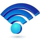 Het blauwe glanzende 3D teken van WiFi