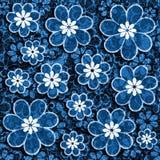 Het blauwe Grunge-Document van het Bloemplakboek Royalty-vrije Stock Foto's