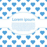 Het blauwe hart van Valentine op wit met ovaal kader Stock Foto