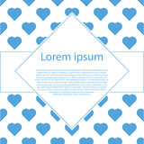 Het blauwe hart van Valentine op wit met ruitkader Royalty-vrije Stock Foto's
