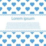 Het blauwe hart van Valentine op wit met streep Royalty-vrije Stock Foto's