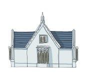 Het blauwe huis uitstekende lijn kunst en schilderen Stock Foto's