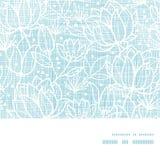 Het blauwe kant bloeit textiel horizontaal kader Stock Foto