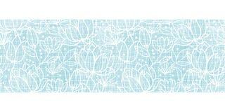 Het blauwe kant bloeit textiel horizontale grens royalty-vrije illustratie