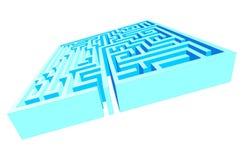 Het blauwe Labyrint van het Labyrint Stock Afbeeldingen