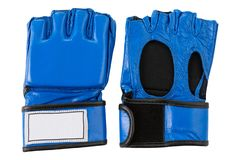 Het blauwe leer gloves, voor karate, fingerless, op een witte achtergrond royalty-vrije stock foto