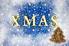 Het blauwe magische frame van Kerstmis royalty-vrije stock afbeeldingen
