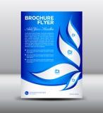 Het blauwe malplaatje van de Brochurevlieger, bulletinontwerp, Pamfletmalplaatje Stock Afbeelding