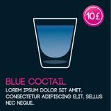 Het blauwe malplaatje van de cocktailkaart met prijs en vlakke achtergrond Royalty-vrije Stock Afbeelding