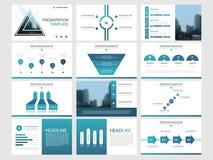 Het blauwe malplaatje van de de elementenpresentatie van de driehoeksbundel infographic bedrijfs jaarverslag, brochure, pamflet,  royalty-vrije illustratie