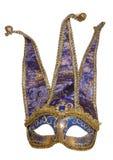 Het blauwe masker van de narrenmaskerade stock foto's