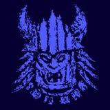 Het blauwe masker van het gezichtsdemon Vector illustratie royalty-vrije illustratie