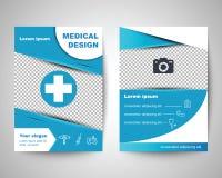 Het blauwe medische malplaatje van de vliegerlay-out Stock Foto's