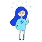 Het Blauwe meisje van het pretbeeldverhaal Royalty-vrije Stock Afbeeldingen