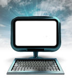 Het blauwe metaalcomputerscherm met blauwe hemel met achtergrondgloed Royalty-vrije Stock Afbeeldingen