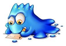 Het blauwe monster schrijven Stock Afbeeldingen