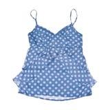 Het blauwe Mouwloos onderhemd van de Chiffon dat op Wit wordt geïsoleerd Stock Foto's