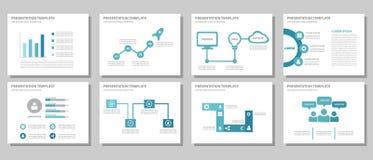 Het blauwe multifunctionele vlakke ontwerp van het presentatiemalplaatje Royalty-vrije Stock Afbeeldingen